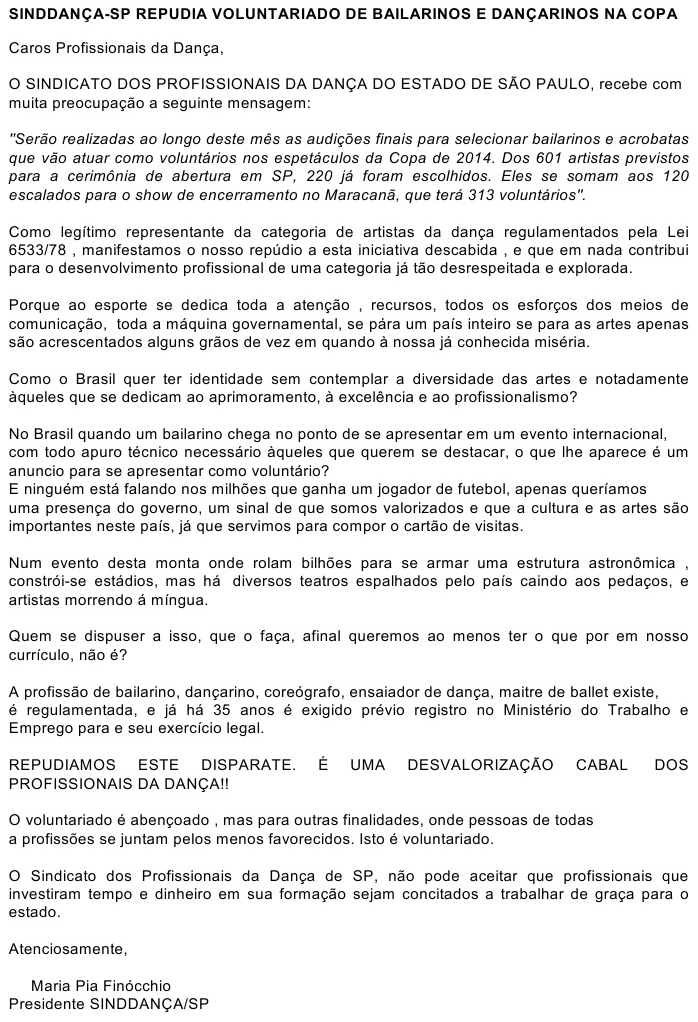 Carta de repudio ao voluntariado