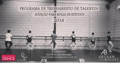 Artisan Ballet abre audição para Bolsa de Estudos para o Programa de Treinamento de Talentos 2018