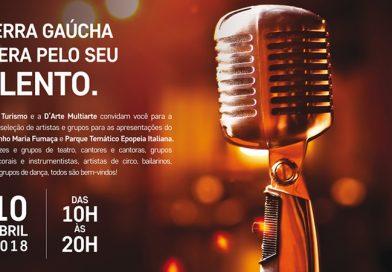 Audição para apresentações na Maria Fumaça e Parque Epopeia Italiana